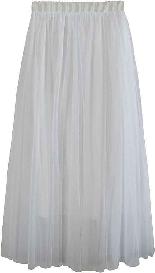 Donna Gonna Lunga di Tulle Elastico in Vita Stile Elegante Casual Tulle a 3 Strati Solida Colore Linea ad A