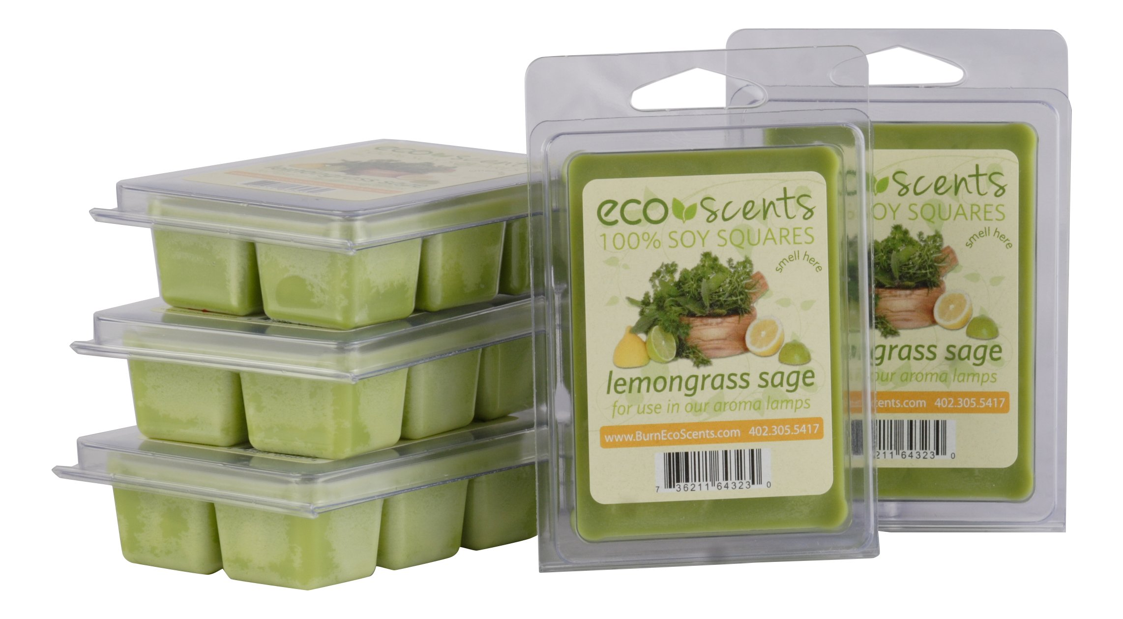 EcoScents Lemongrass Sage Wax Melts (5 Pack), Green