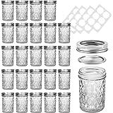 Mason Jars, SKOCHE 24 Pack 8oz Canning Jars Glass Jars Jelly Jars with Regular Lids, Ideal for Jam, Honey, Wedding Favors, Sh