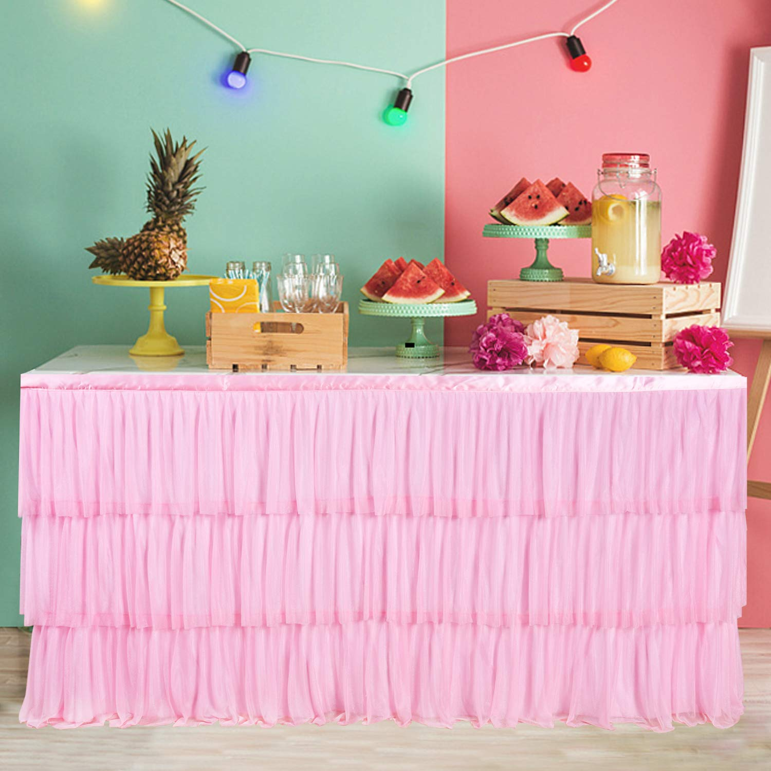 9ft Pink Tulle Tutu Table Skirt with 3 Tier Dust Ruffle Skirting for Round or Rectangular Table for Party, Meeting, Birthday, Wedding Decoration and Home Decor(L108Inch×H30Inch)
