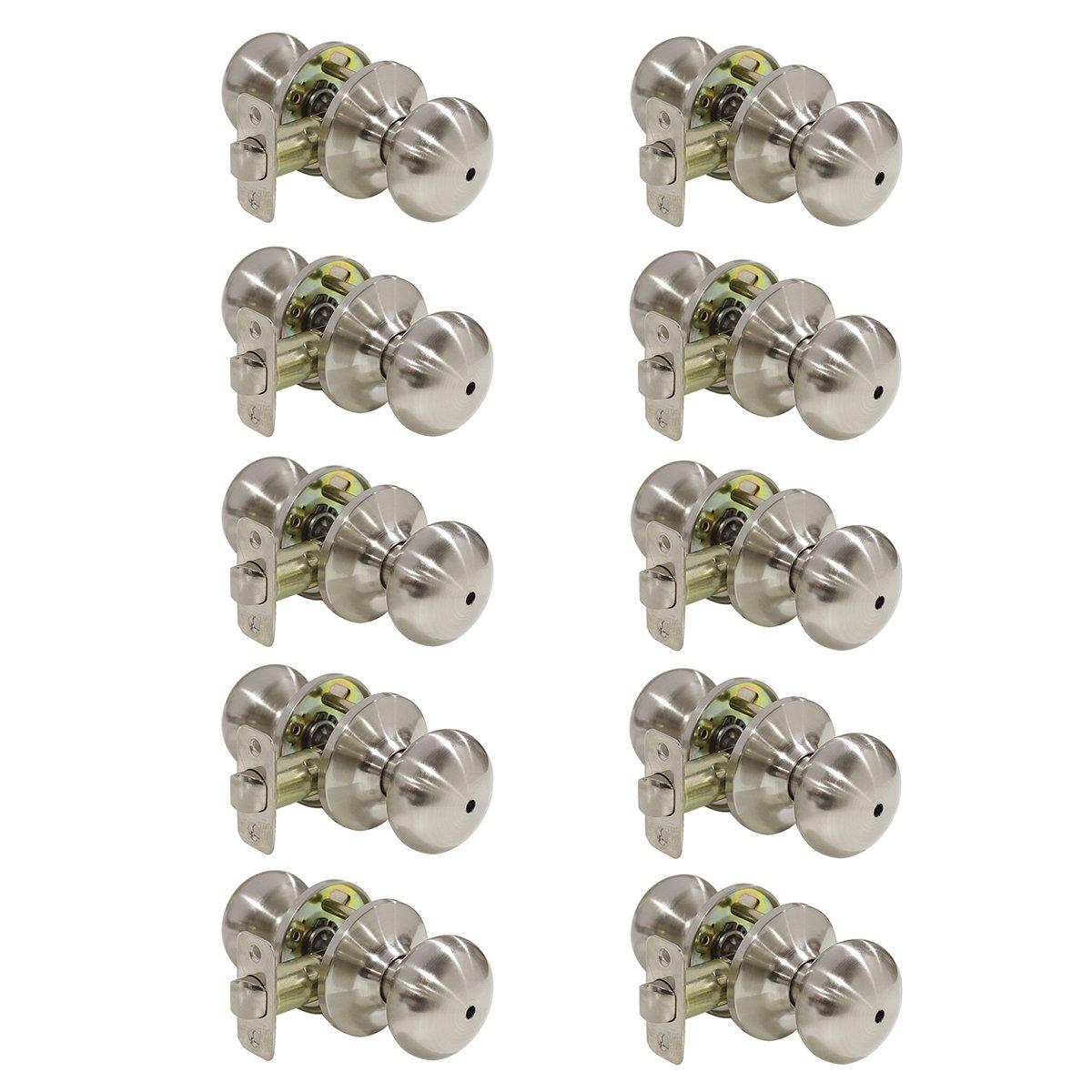 Probrico 10 Pack Privacy Door Lockset Stainless Steel Keyless Door Knobs Lock Set Handles Brushed Nickel (Bedroom & Bathroom)