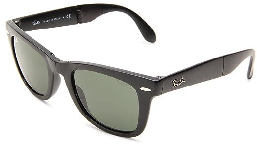 ray ban folding wayfarer sunglasses lite tort  ray ban unisex adults mod. 4105 sunglasses, black, size 50