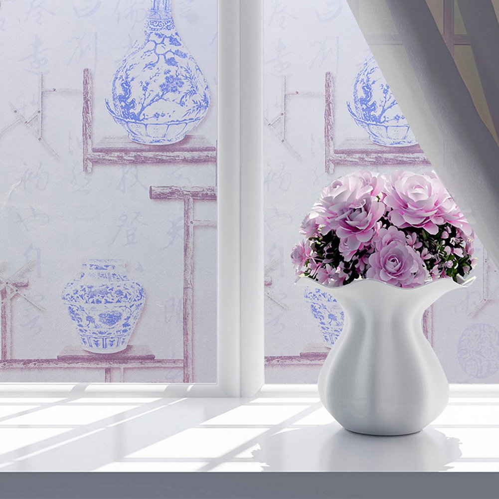 Bluelans® Non-Adhesive No-Glue Window Film Decorative Privacy Static Clings Flower Pattern Frosted Glass Window Film Sticker 45CM x 100CM for Home Bathroom Kitchen Office (45*100cm, Daffodil)