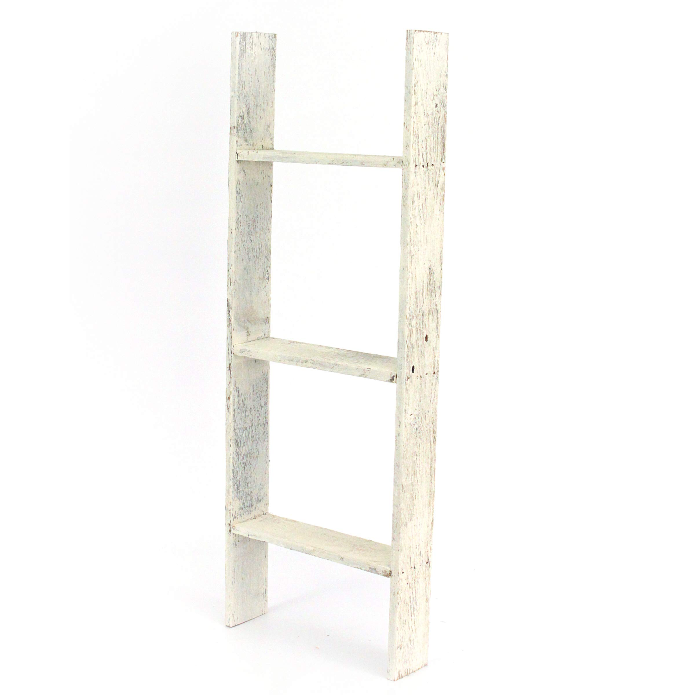 BarnwoodUSA Rustic Farmhouse Blanket Ladder - Our 3 ft Ladder can be Mounted Horizontally Vertically is Crafted from 100% Recycled Reclaimed Wood | No Assembly Required | White