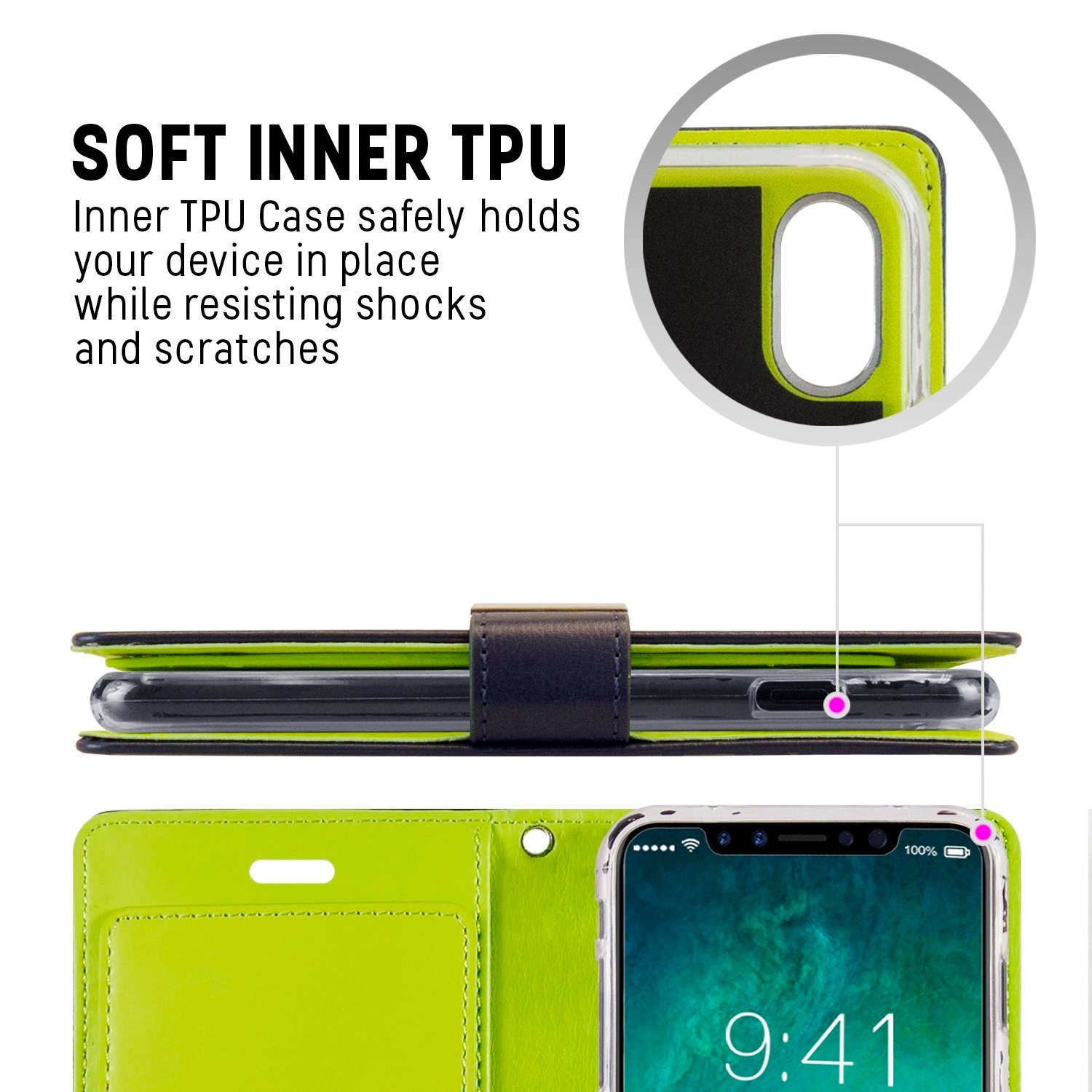 Iphone 8 Case 7 Goospery Rich Diary Wallet Stand Slot Fancy Yellow Hotpink Card Cover For Navy Lime Flip Cases