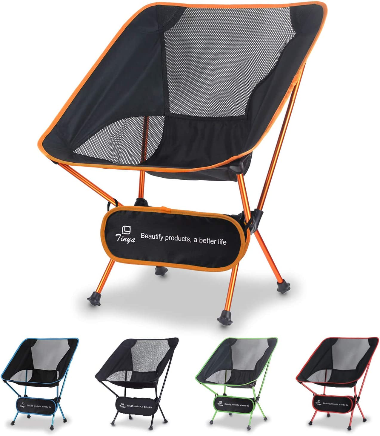Tinya Ultralight Backpacking Camping Chair Kids Adults Backpacker Heavy Duty 300lb Capacity Packable Ultra Lite Collapsible Portable Lightweight Compact Folding Beach Outdoor Picnic Travel Hiking