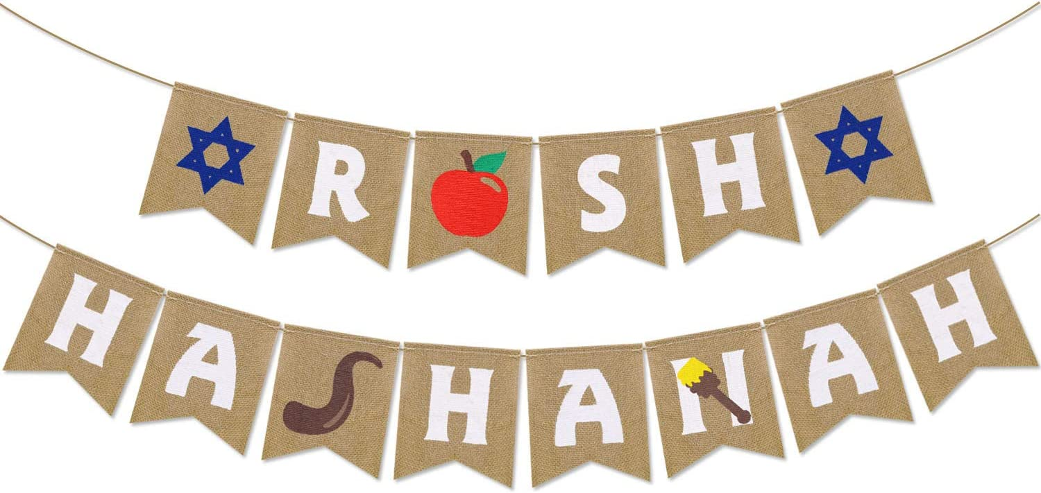 Yaaaaasss! Rosh Hashanah Burlap Banner Jewish New Year String Flags Banners Jewish New Year Theme Party Decorations Jewish High Holy Day Banner Shana Tova Party Supplies
