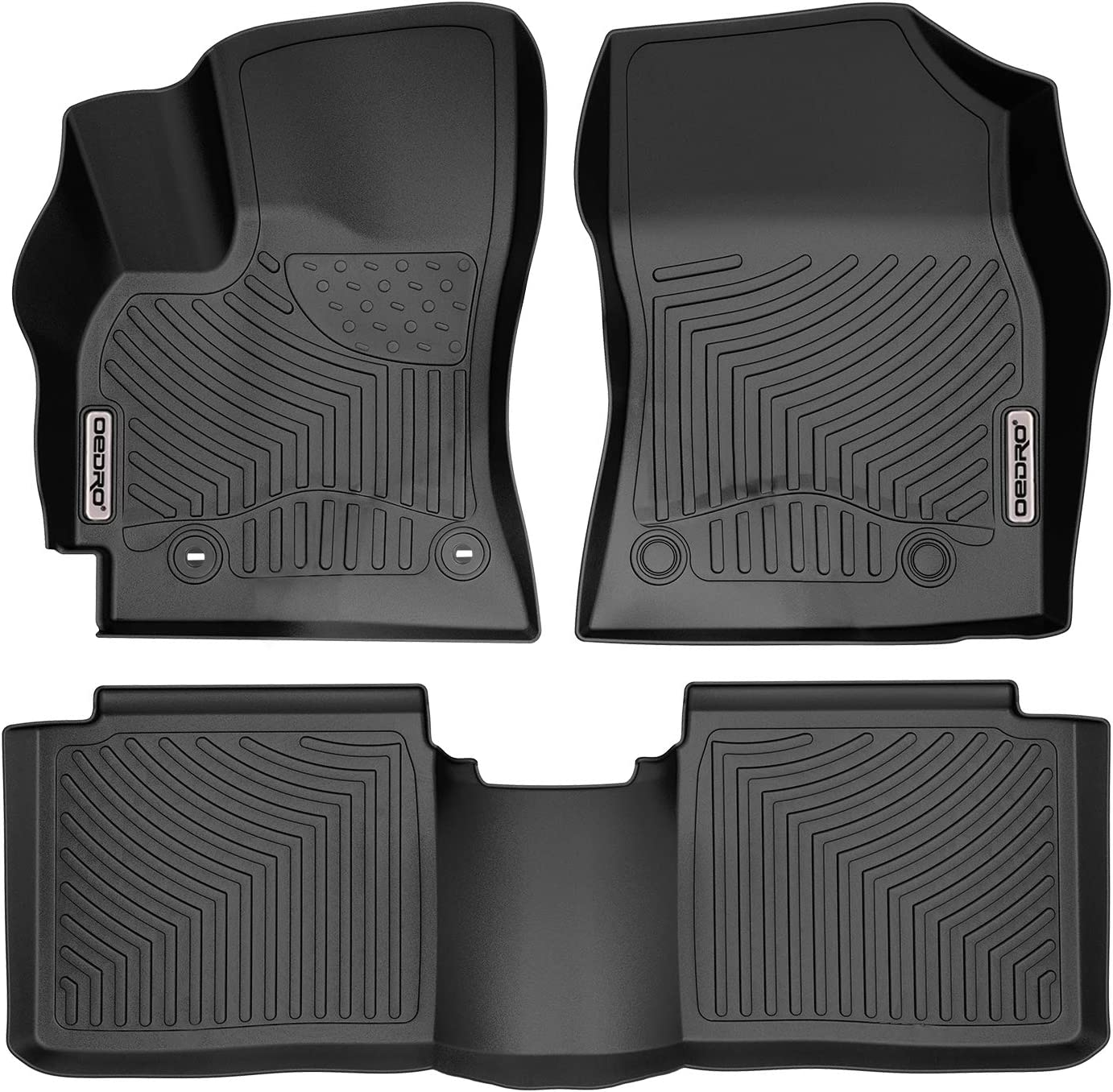 oEdRo Custom Fit Floor Mats for 2014-2016 Toyota Corolla with Automatic Transmission, All Weather Front & 2nd Seat Floor Liners
