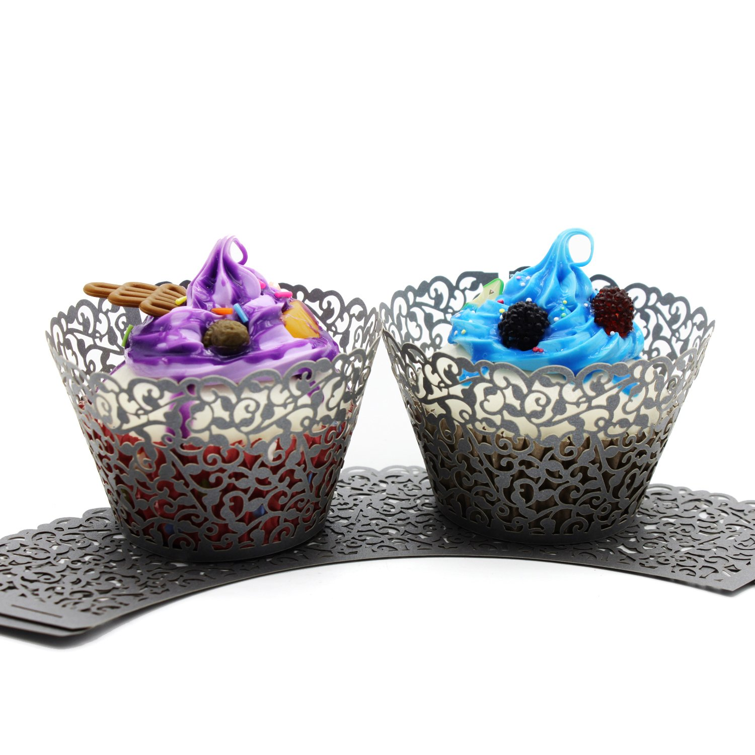 UNIQLED Filigree Artistic Bake Cake Paper Cups Little Vine Lace Laser Cut Liner Cupcake Wrappers Baking Cup Muffin Holder Case for Wedding Birthday Party Decoration (100, Silver)