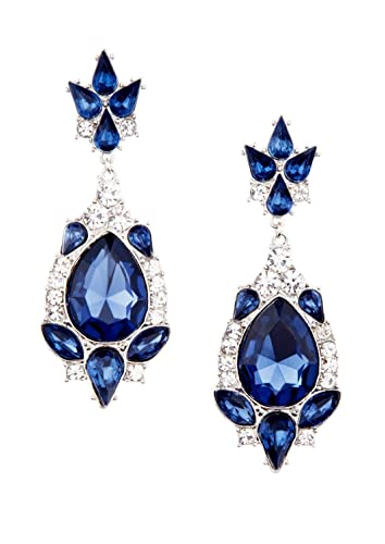 Happiness boutique women chandelier earrings in blue royal happiness boutique women chandelier earrings in blue royal statement earrings in navy nickel free mozeypictures Image collections