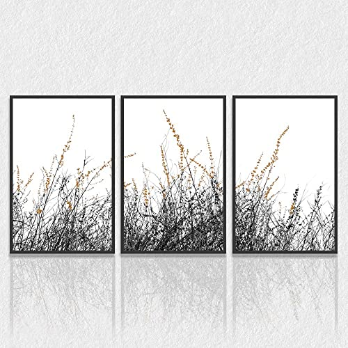 SIGNWIN 3 Piece Framed Canvas Wall Art Wild Grass Field Nature Wilderness Photography Abstract Contemporary Landscape Canvas Prints Home Artwork Decoration