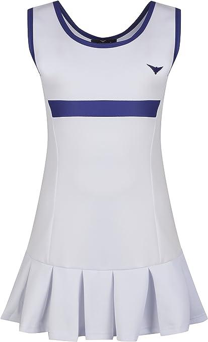 Robe De Tennis Pour Filles Blanche Et Bleue Plissee Pour Junior Netball Vetements De Sport Amazon Fr Sports Et Loisirs