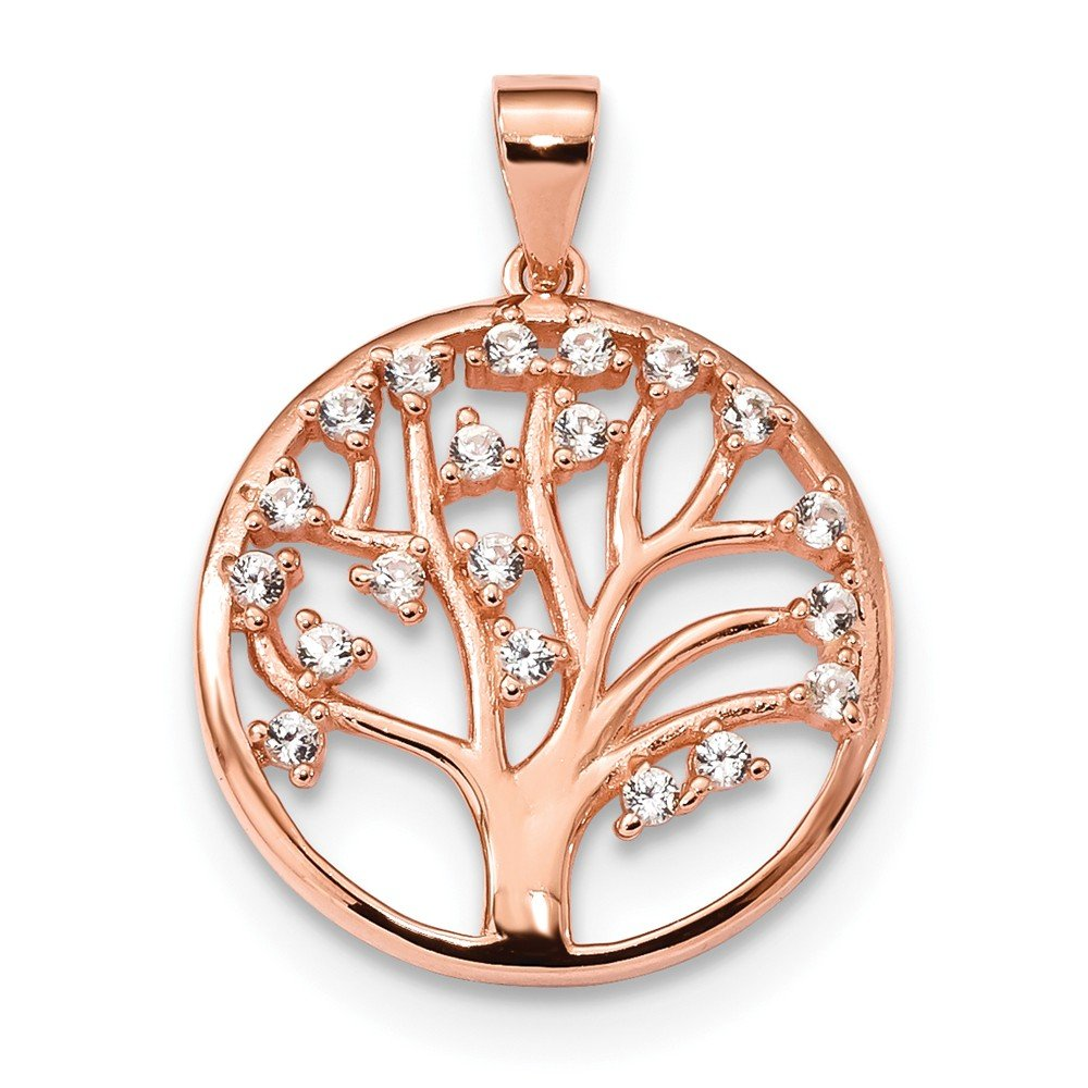 FB Jewels Solid 925 Sterling Silver Rose-Tone Created White Sapphire Tree Of Life Pendant