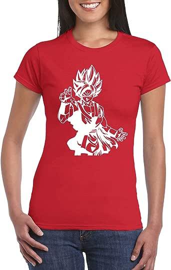 Red Female Gildan Short Sleeve T-Shirt - Goku Super Saiyan D4 design