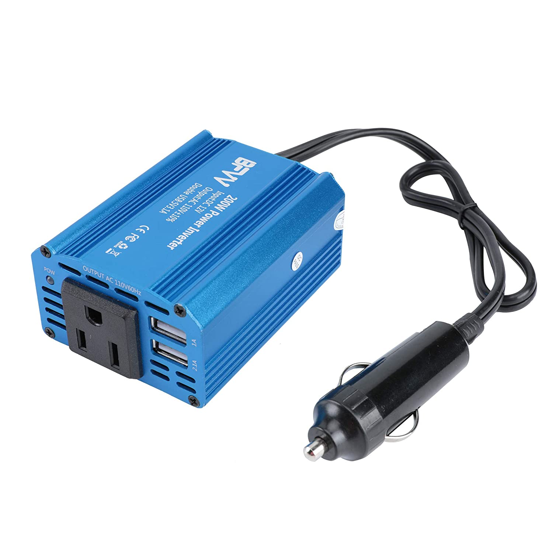 BFVV 200W Power Inverter DC 12V to AC 110V Car Inverter with 3.1A Dual USB Car Charger (Blue)
