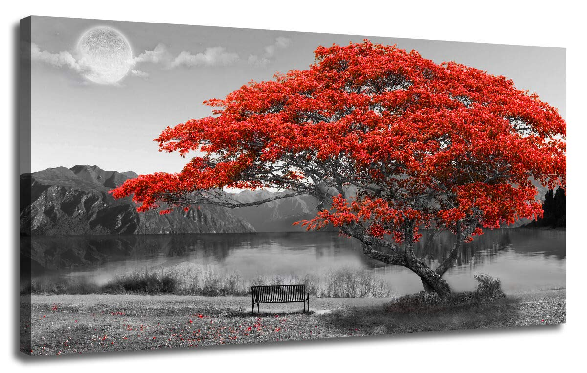 "Ardemy Canvas Wall Art Prints Red Tree Picture Modern Lake Panoramic Moon Painting, Extra Large Landscape Artwork Wooden Framed Ready to Hang for Living Room Bedroom Dinning Room Wall Decor, 48""x24"""