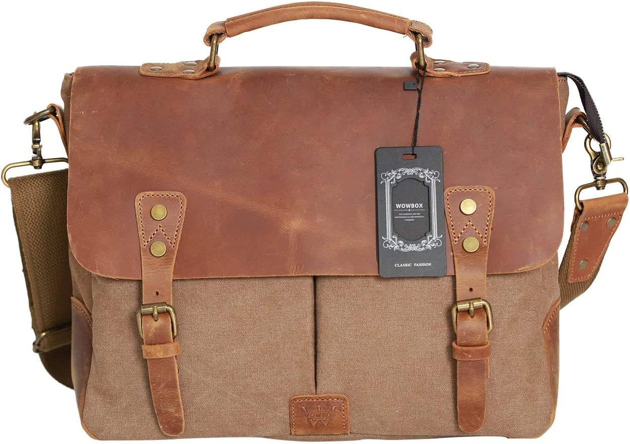 """WOWBOX Messenger Bag for Men 14"""" Leather Laptop Satchel Briefcase Bags Coffee"""