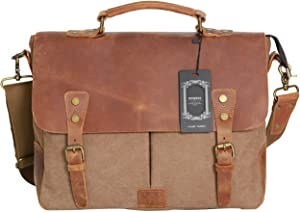 "WOWBOX Messenger Bag for Men 14"" Leather Laptop Satchel Briefcase Bags Coffee"