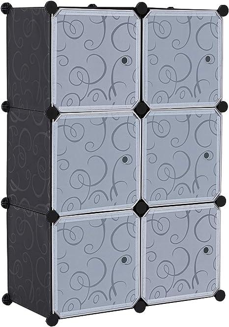 BASTUO Organizador de cubo de almacenamiento de 6 cubos de plástico de 3 niveles para armario de estanterías de armario organizador con puerta, 74 x ...