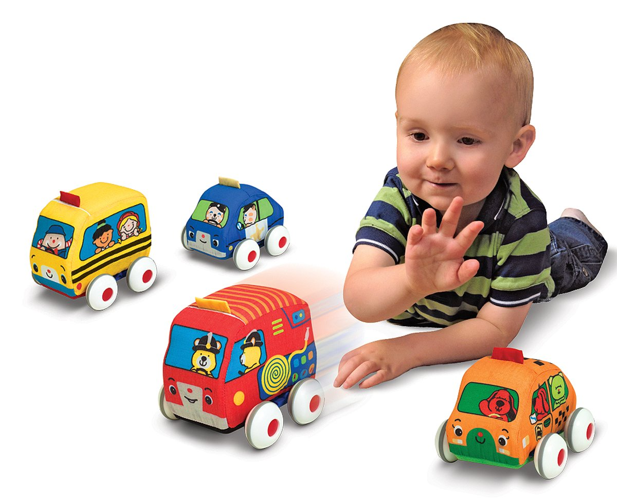 amazoncom melissa doug ks kids pull back vehicle set soft baby toy set with 4 cars and trucks and carrying case melissa doug toys games