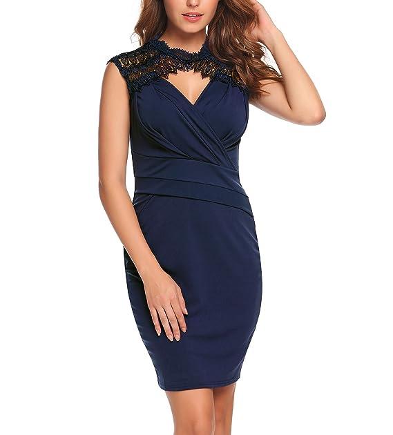 ACEVOG - Vestido - Estuche - para Mujer Azul Marino XXL