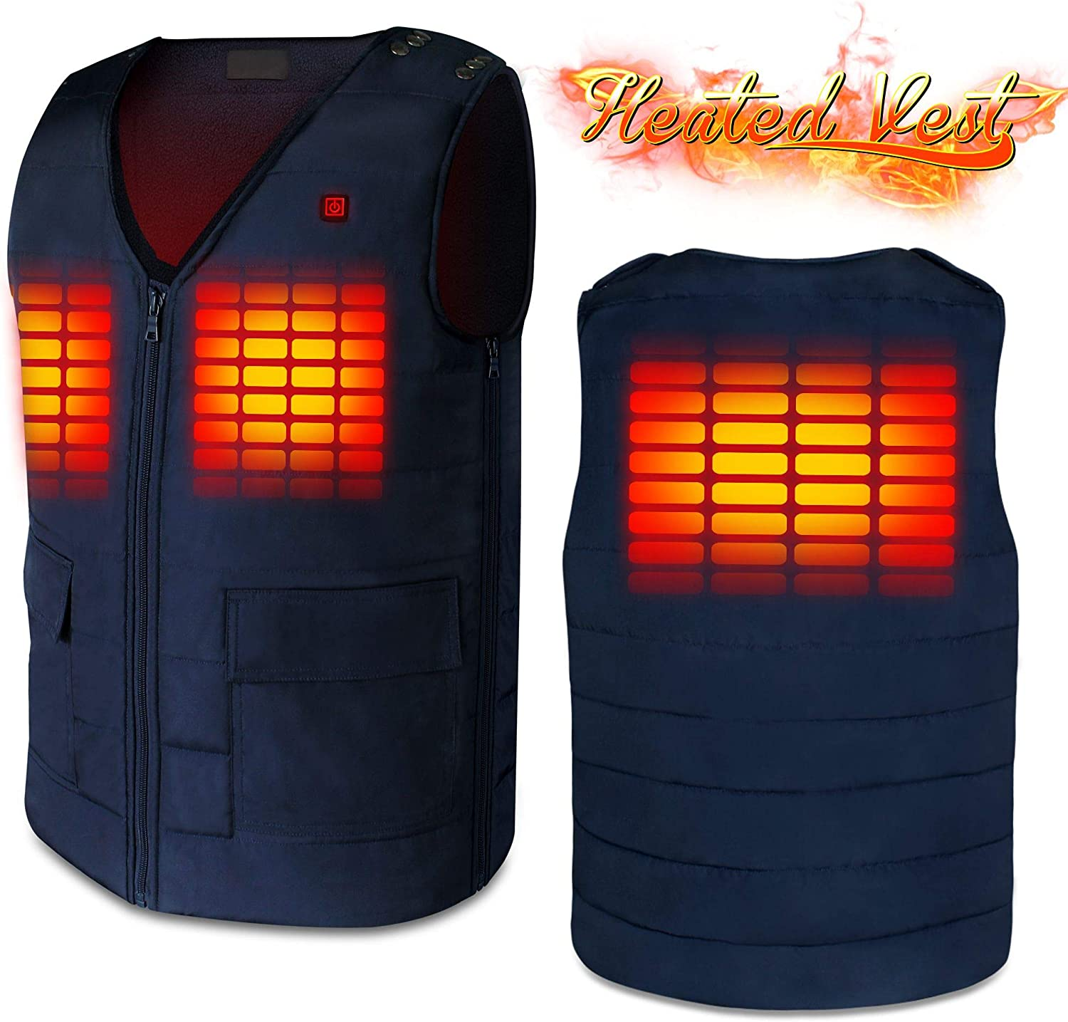 Men Woman Heated Vests with 7.4V Battery Pack,Adjustable Puffer Down Heating Jacket Vests Navy Blue