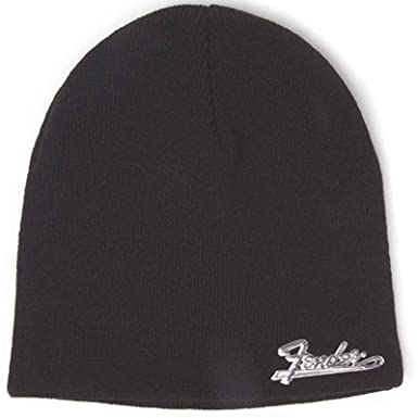 Fender Beanie Hat Classic Metal Logo Official Black One Size  Amazon ... dde38a440f8a
