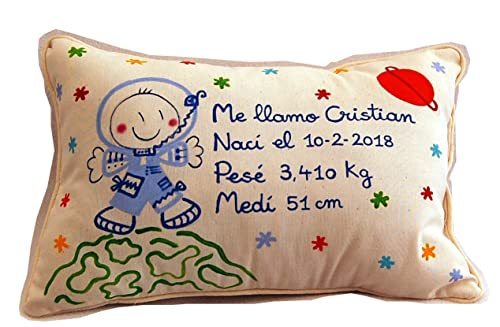 Cojín personalizado de bebe natalicio 40 x 25 cm. Astronauta ...