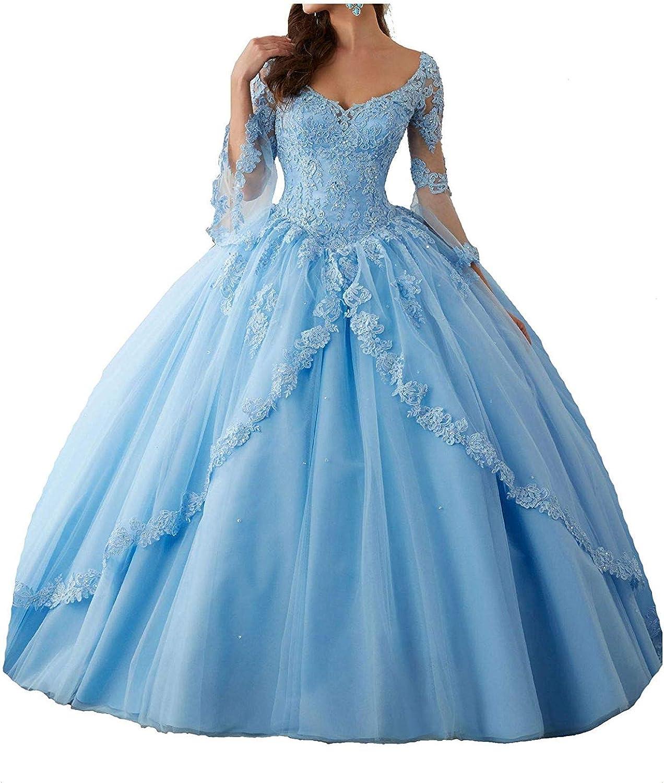 CoCogirls Prinzessin Tuell Ballkleider Spitze Lange Ärmel Festkleid  Abendkleid Quinceanera Kleider Party Kleid Formell Ballkleid