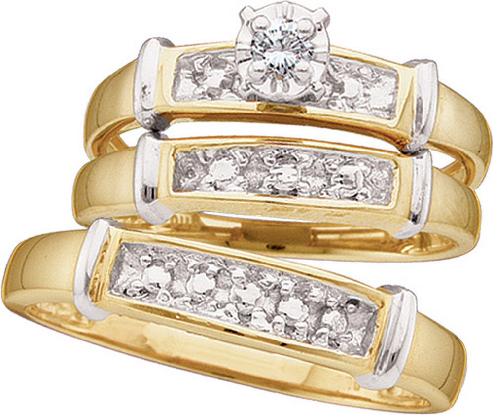 Sterling Silver His & Hers Round Diamond Solitaire Matching Bridal Wedding Ring Band Set 1/12 Cttw (I3 clarity; J-K color)