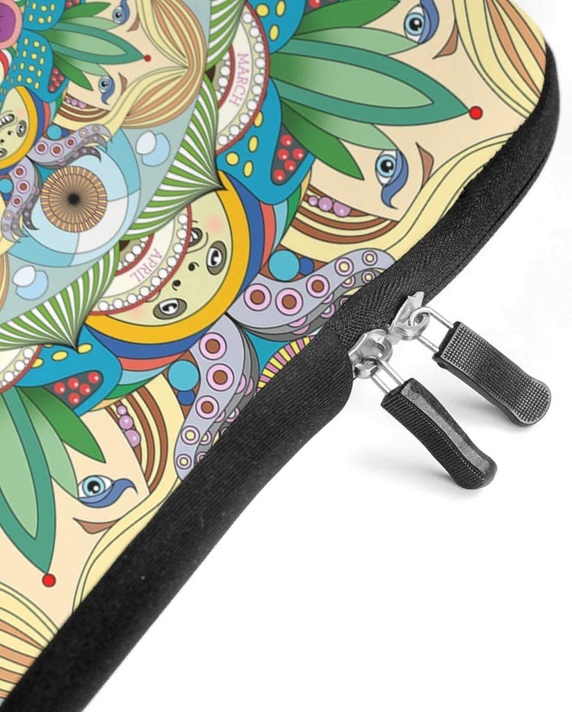 Stylish Laptop Sleeve Colorful Yellow Green Mandala Girl 3D Notebook Sleeve Scratch Resistant Neoprene Tablet Sleeves for Women Men White 17inch