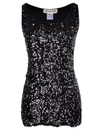 c29b75e44af0f Anna-Kaci Womens Sparkle   Shine Glitter Sequin Embellished Sleeveless  Round Neck Tank Top