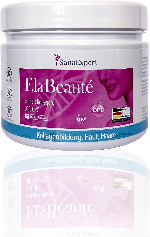 SanaExpert ElaBeauté, Colágeno en Polvo Anti-Edad con Q10, OPC, Zinc, Biotina y Vitaminas para la Piel, Pelo y Uñas, 150 Gramos