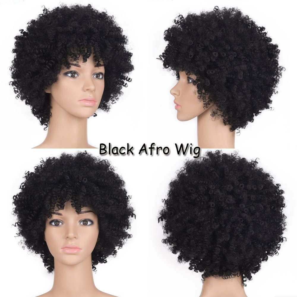 Amazon.com : Short Black Afro Wigs For Black Women Kinky Curly ...