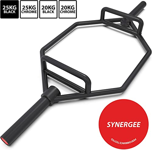 Synergee 20kg and 25kg Chrome or Black Olympic Hex Barbell Trap Bar with Flat or Raised Handles for Squats, Deadlifts, Shrugs. 56 Long Bar with 10 Sleeve.