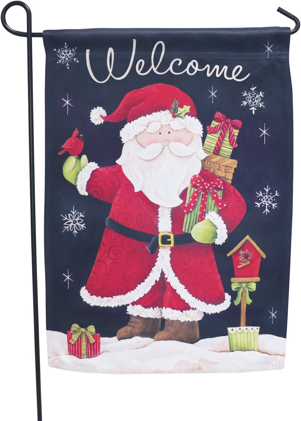 LAYOER Home Christmas Garden Flag 13 x 18 Inch House Double Sided Welcome Santa Claus 12 x 18 Inch