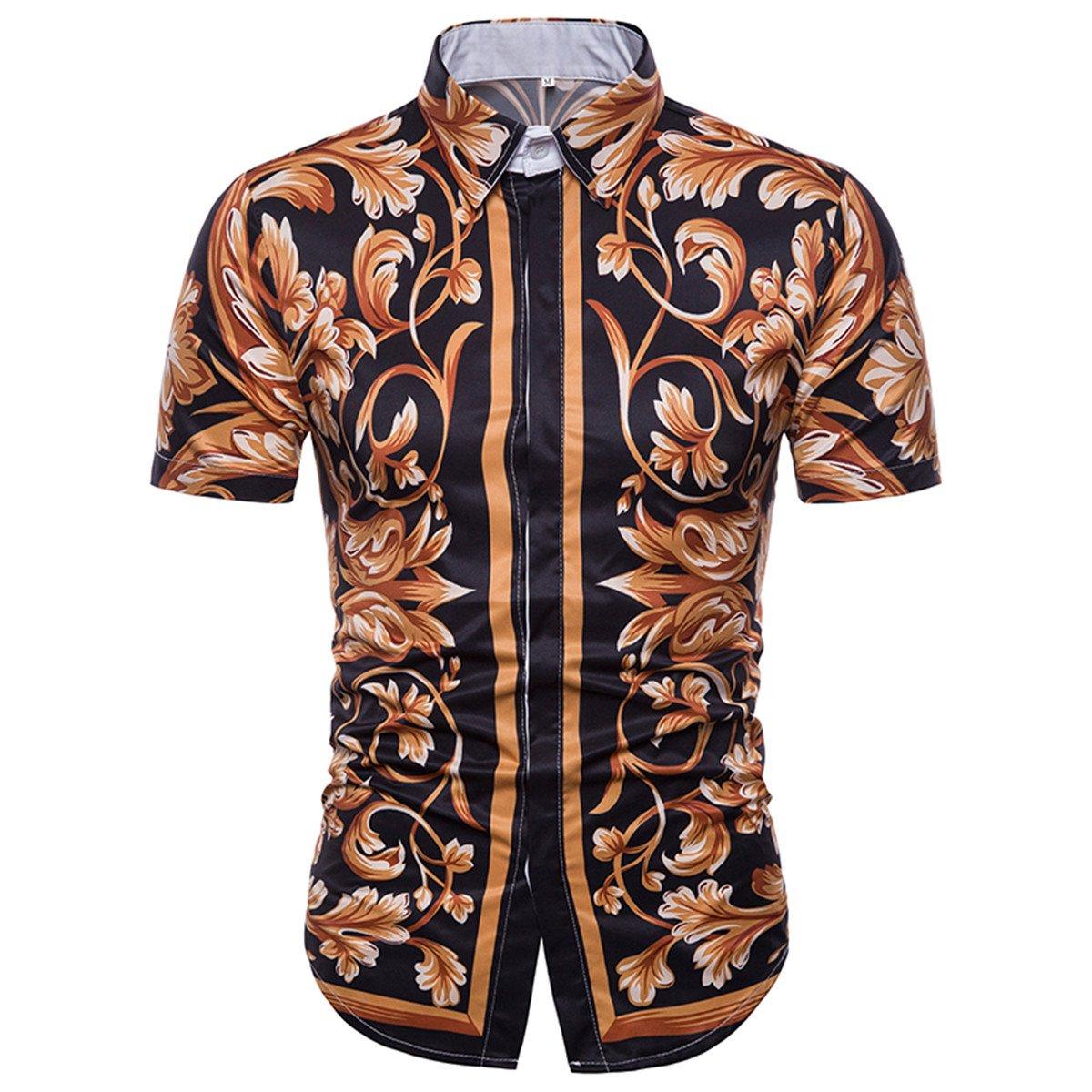 Mens Printed Button Down Casual Short-Sleeved Summer Shirt