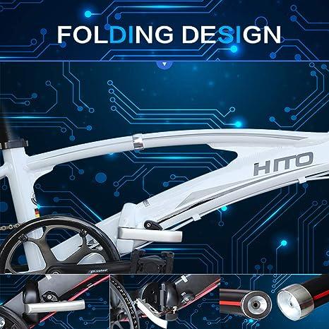 MIRACLEM Bicicleta Plegable Portátil De Aleación De Aluminio De 20/22 Pulgadas, Tubo Doble Ultra Ligero (12 Kg): Amazon.es: Deportes y aire libre