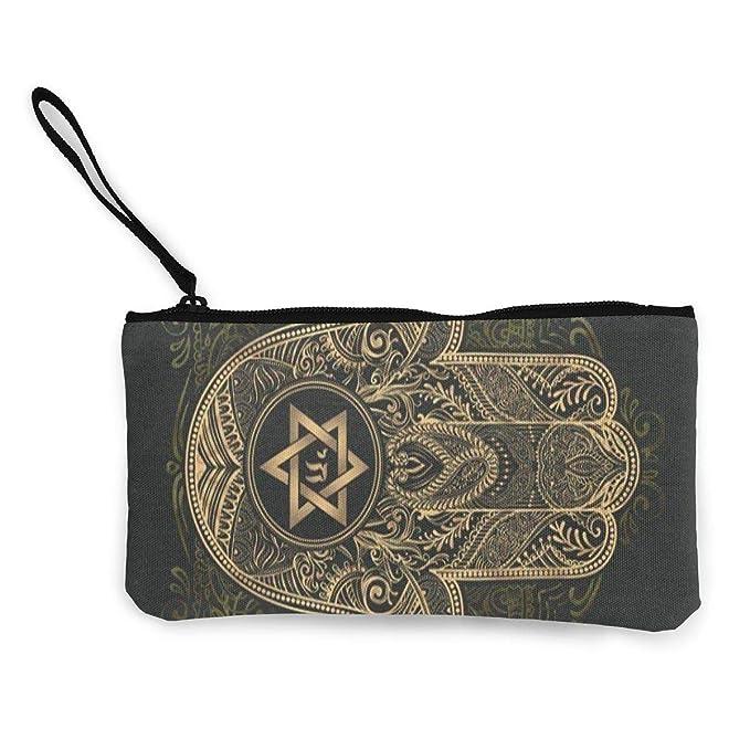 Amazon.com: Monedero de lona elegante mano tradicional judío ...
