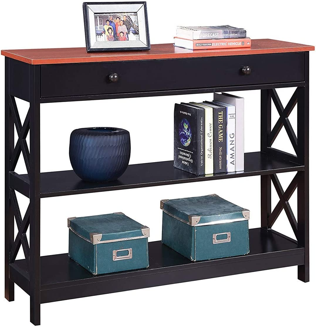 Convenience Concepts Oxford 1 Drawer Console Table, Cherry / Black