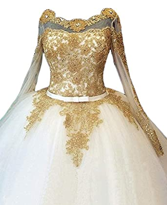 3e4a49a5754 Z Sexy Illusion Long Sleeve Bridal Gowns Gold Appliques Beaded Wedding  Dresses for Bride 2018 Ball Gown at Amazon Women s Clothing store