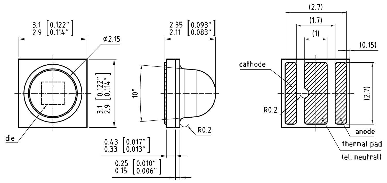 Lot de 10/oslon/® SSL 80/LED Ambre 612 616/Nm la cp7p  1/W SMT Bo/îtier