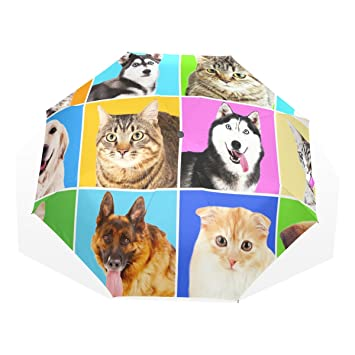 GUKENQ - Paraguas de Viaje para Perros, Gatos, Retratos, Ligero, Anti Rayos