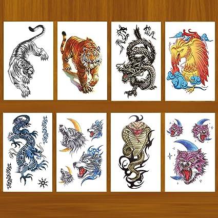 8 hojas de tatuajes temporales realistas de tigre para hombres ...
