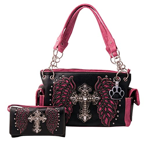 49b61f5eeccc Amazon.com: HW Collection Western Rhinestone Cross with Tooled Wings ...