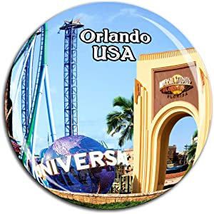 Universal Studios Florida Orlando America USA Fridge Magnet 3D Crystal Glass Tourist City Travel Souvenir Collection Gift Strong Refrigerator Sticker