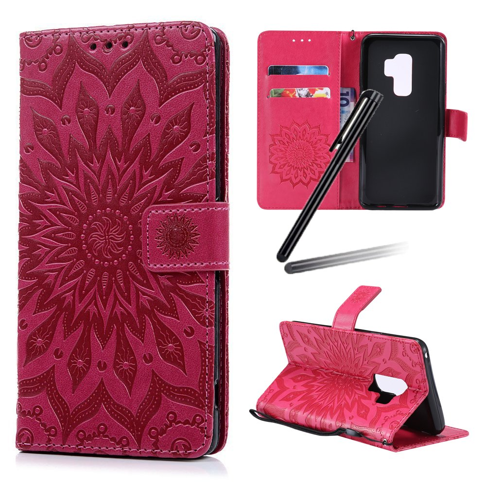 Galaxy S9 Plus Stand Case,Samsung Galaxy S9 Plus Wallet Case,SKYMARS Sunflower Embossed Vintage Premium PU Leather Flip Kickstand Cards Slot Cash Pockets Wallet Magnetic Closure TPU Inner Wrist Strap Shockproof Case for Samsung Galaxy S9 Plus 2018 Sunflow
