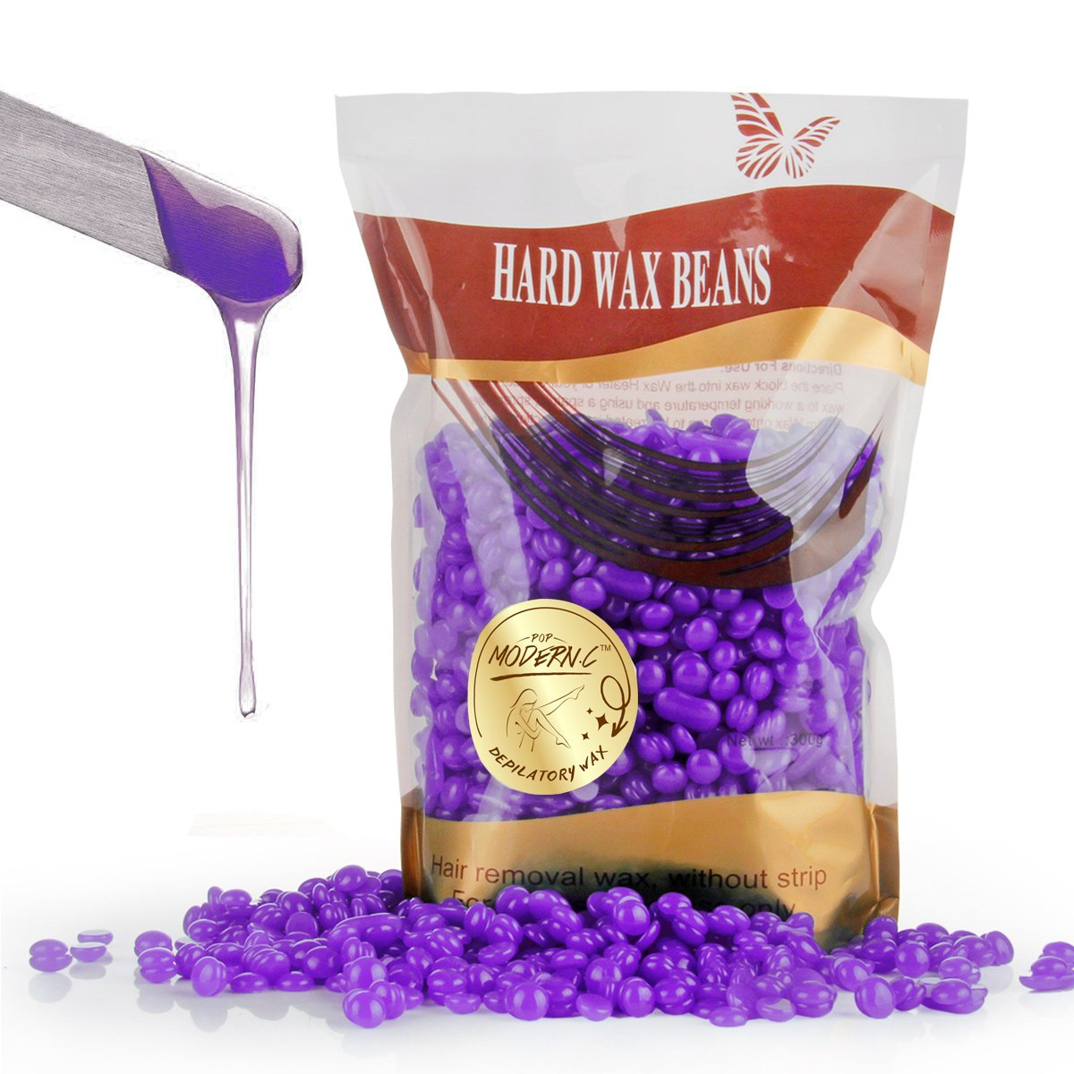 Wax Bean Hair Removal Brazilian Pearl DepilatoryWaxing Beads for Men Women Chest Face Body BikiniArm Leg Armpits Hair Removal 300G (10.6oz) (Lavender)