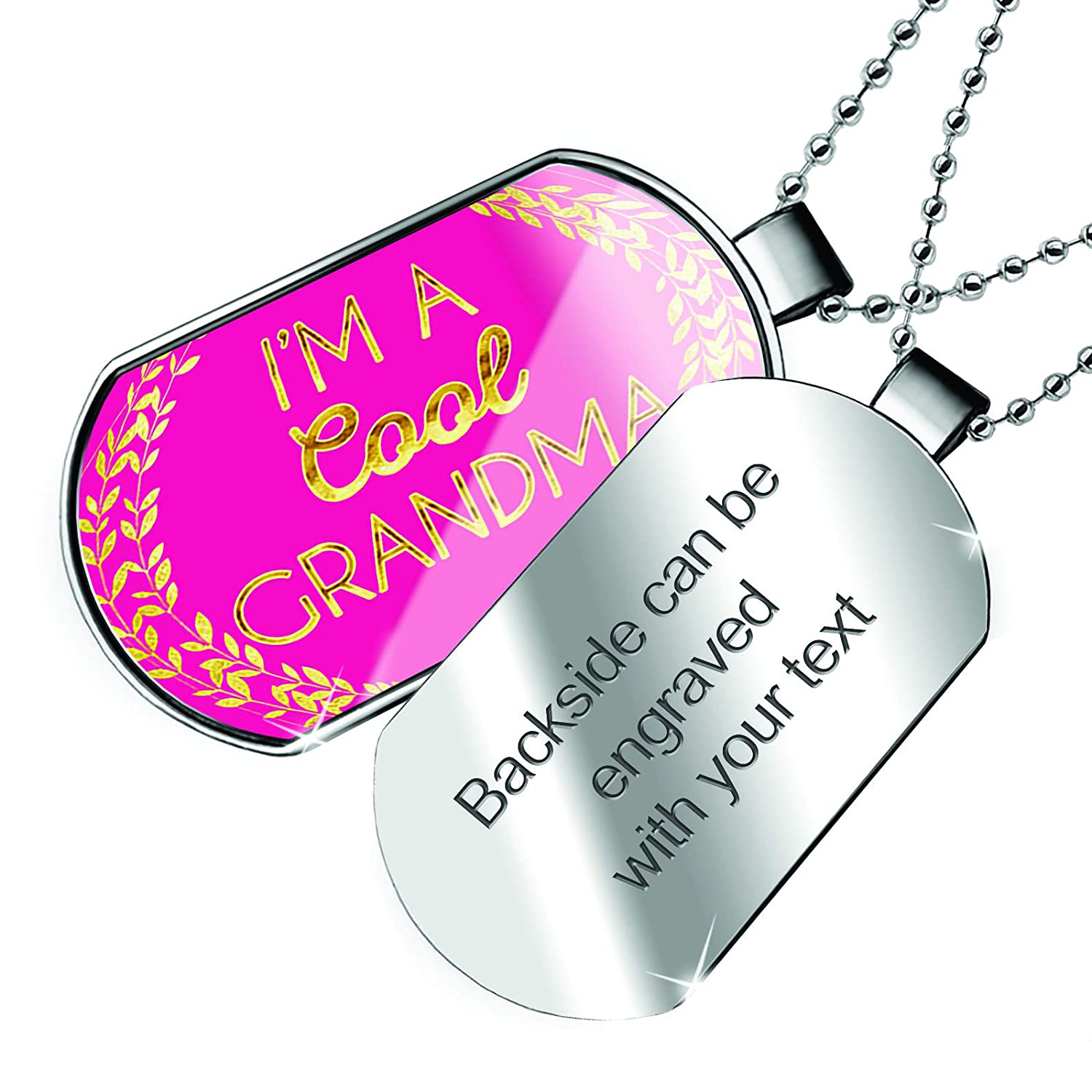 NEONBLOND Personalized Name Engraved Im A Cool Grandma Mothers Day Hot Pink and Gold Leaf Circle Dogtag Necklace