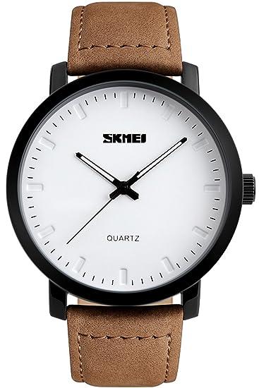 Findtime Relojes Hombre Estilo Minimalista Cuero Marron Analogico Cuarzo Marcas de Relojes: Amazon.es: Relojes